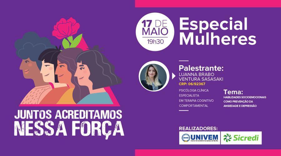 Univem realiza palestra sobre empoderamento feminino nesta sexta
