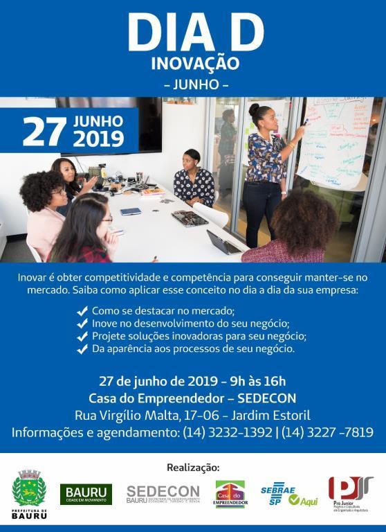 Cartaz de divulgação do Dia D Inovação. (Imagem: Divulgação/Prefeitura de Bauru)