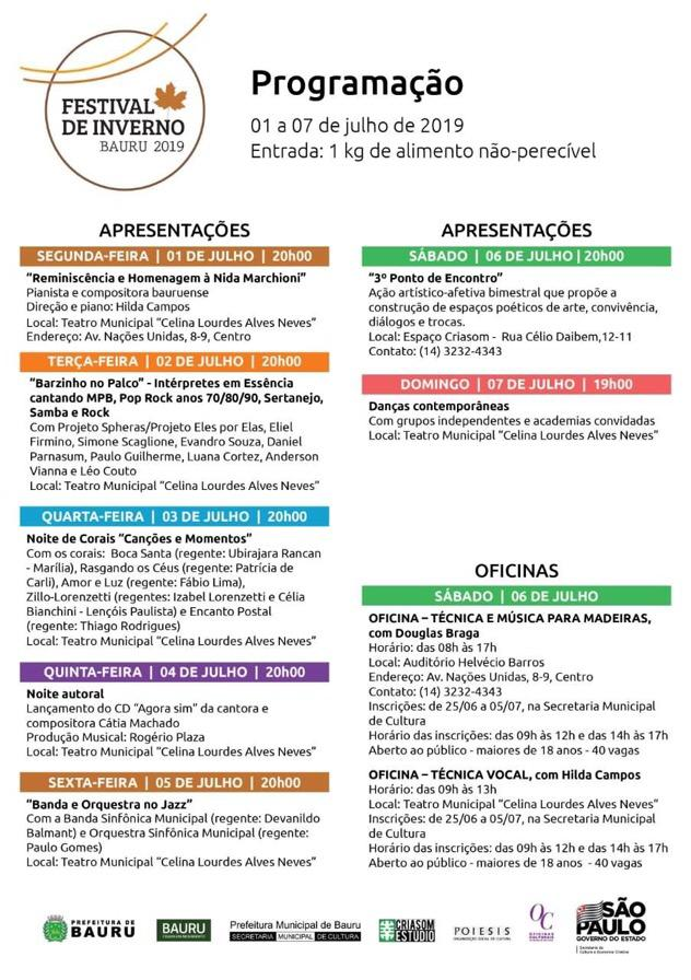 Cartaz de divulgação do Festival de Inverno. (Imagem: Reprodução/Prefeitura de Bauru)