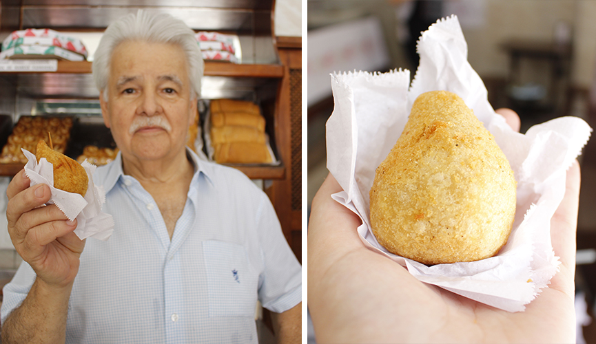 Foto do criador da coxinha de queijo e uma das famosas coxinhas da #JundiaíRaiz.