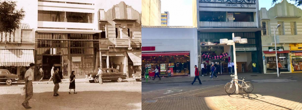 Foto de 1956 e outra de 2018 da fachada da Galeria Bocchino, ponto famoso de Jundiaí
