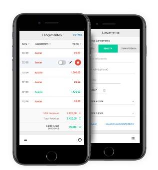 imagem de dois iphones com o app do pedro braggio abertos