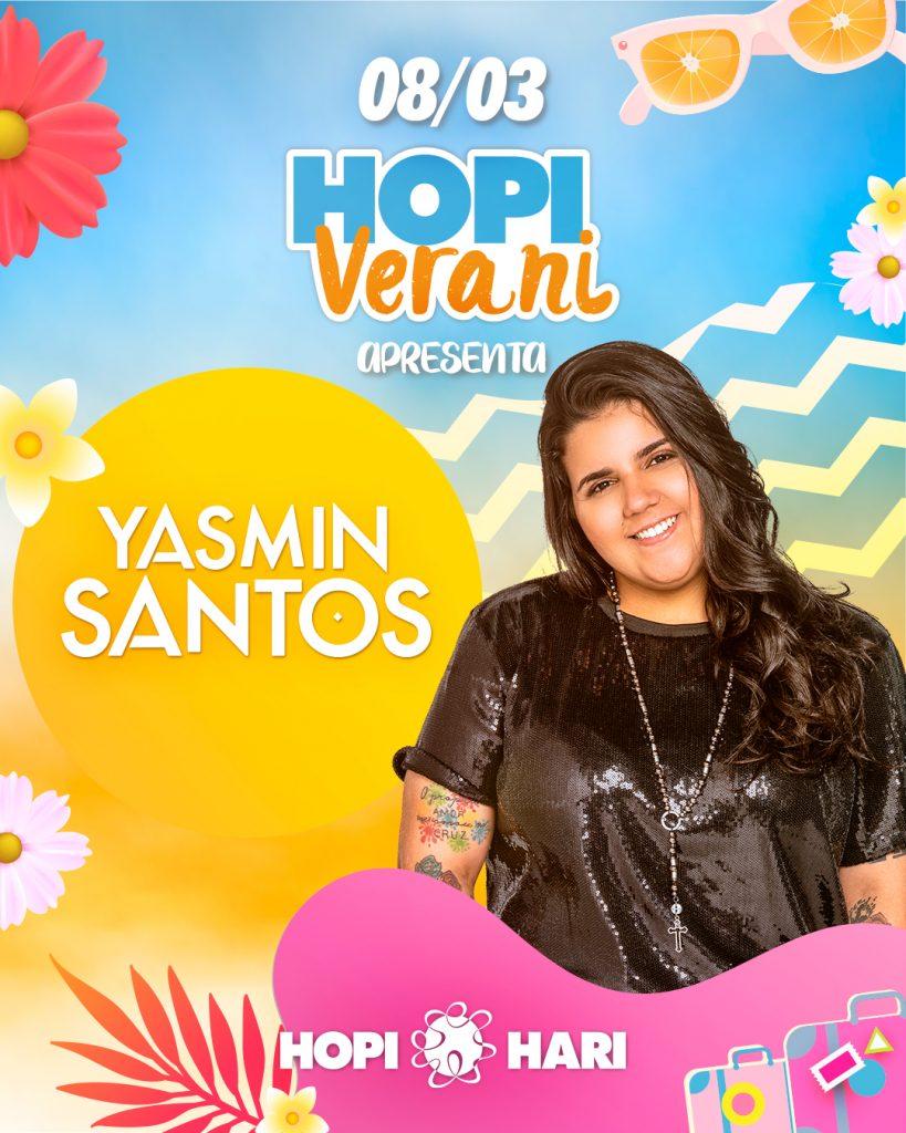 Cartaz oficial de divulgação de Yasmin Santos no Hopi Hari.