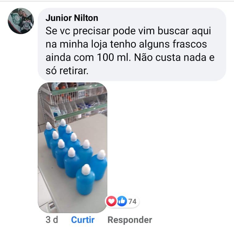 Comerciante prudentino doa álcool gel para ajudar na higienização da população