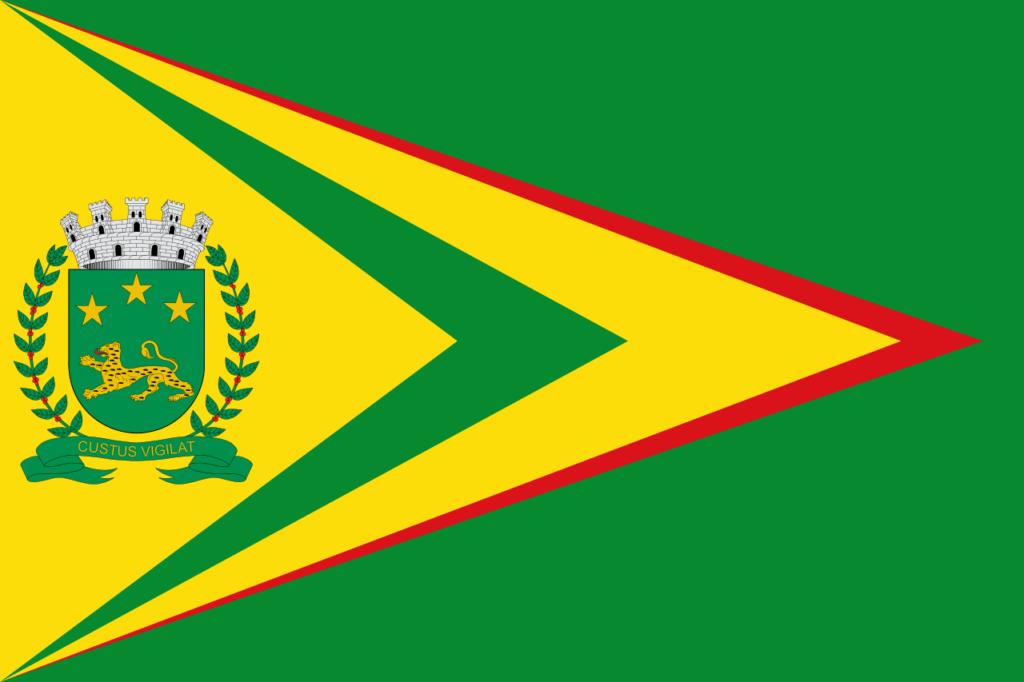 Bandeira de Bauru. Cores verde e amarelo são predominantes. Alguns detalhes em vermelho.