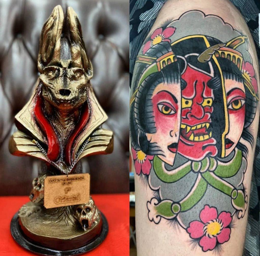 Tatuadores bauruenses se destacam e conquistam prêmios em convenções nacionais. Na foto, o prêmio e a tatto de Hugo de Brito.