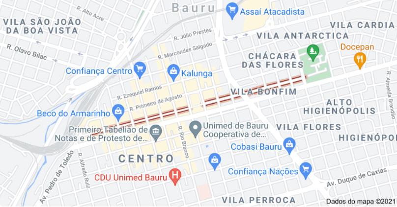 Localização da rua onde fica o Calçadão, em Bauru, no Google Maps