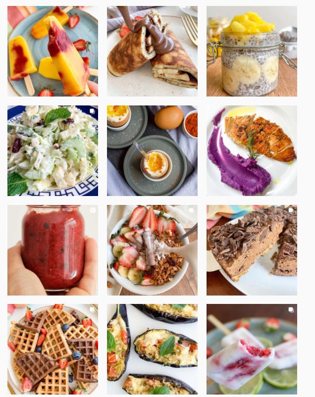 """Feed do Instagram do perfil """"Irmãos na Cozinha"""". Fotos variadas de comida"""