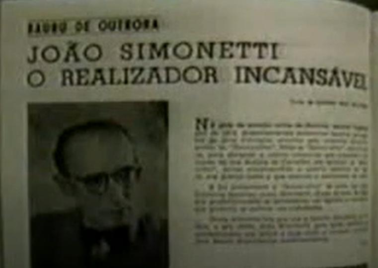 """""""João Simonetti, o realizador incansável"""" foi destaque na mídia impressa da época."""