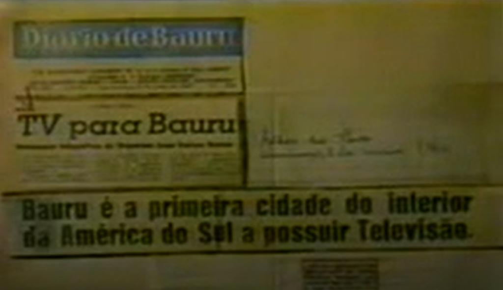 Jornal da década de 1950 traz título anunciando a chegada da televisão em Bauru