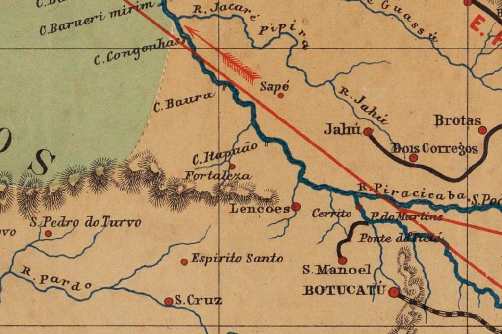 Mapa da Província de São Paulo. Relógios adiantados protagonizaram a curiosa história que deu origem ao município de Bauru
