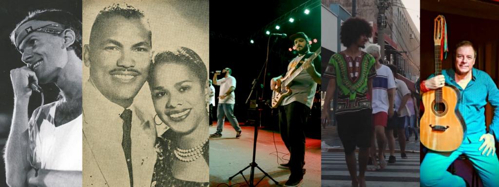 Conheça 5 músicas que falam sobre Bauru. Na foto, os artistas: Cazuza, Cascatinha & Inhana, Seu Migué, Geleia Jataí e Bitenka Bittencourt
