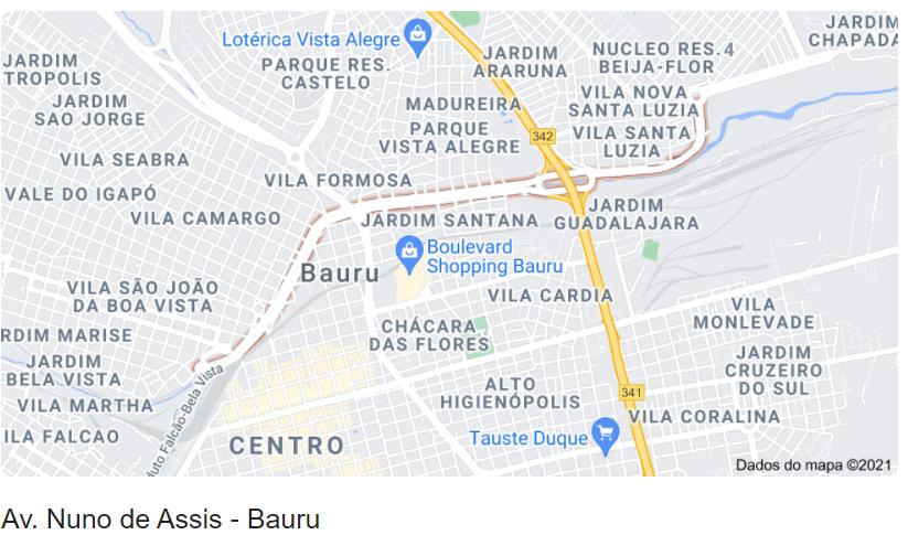 Localização no mapa da Avenida Nuno de Assis em Bauru