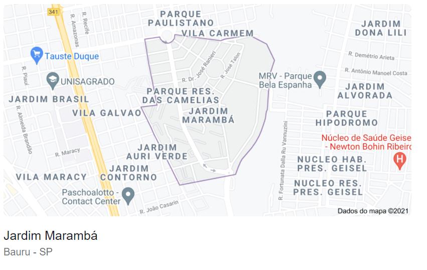 Região do Jardim Marambá em Bauru. Imagem do Google Maps exibindo os limites do bairro