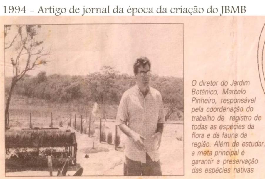 Recorte de jornal da época em o Jardim Botânico de Bauru foi criado