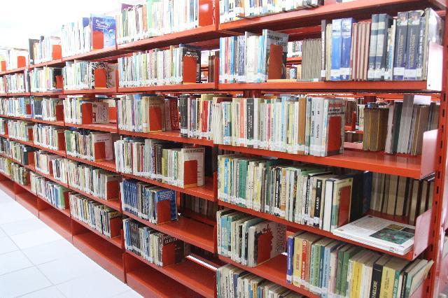 Foto de uma prateleira repleta de livros em biblioteca bauruense. 5 espaços públicos para curtir com as crianças em Bauru